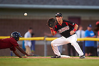 Batavia Muckdogs first baseman Eric Fisher (29) waits for a pickoff attempt throw during the second game of a doubleheader against the Mahoning Valley Scrappers on July 2, 2015 at Dwyer Stadium in Batavia, New York.  Mahoning Valley defeated Batavia 3-0.  (Mike Janes/Four Seam Images)