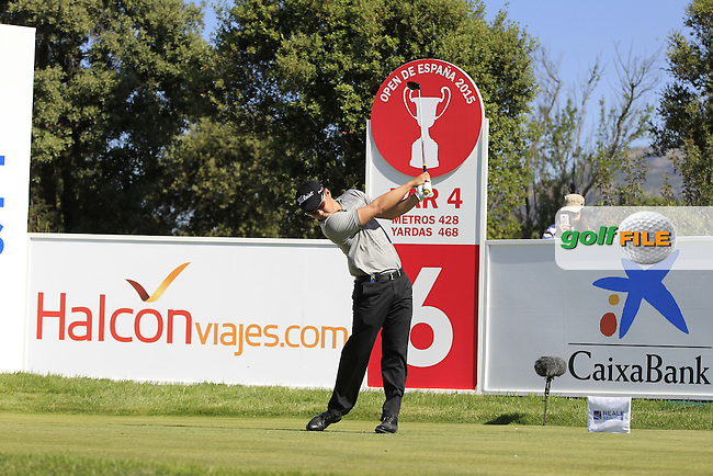 Jin Jeong (KOR) on the 6th tee during Round 2 of the Open de Espana  in Club de Golf el Prat, Barcelona on Friday 15th May 2015.<br /> Picture:  Thos Caffrey / www.golffile.ie