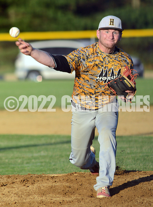 UPPER SOUTHAMPTON, PA - JUNE 26:  Horsham pitcher Brad Humski throws a pitch against Southampton in the first inning of an American Lehion baseball game June 26, 2014 in Upper Southampton, Pennsylvania.  (Photo by William Thomas Cain/Cain Images)
