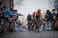 Greg Van Avermaet (BEL/CCC)`up the Oude Kwaremont<br /> <br /> 103rd Ronde van Vlaanderen 2019<br /> One day race from Antwerp to Oudenaarde (BEL/270km)<br /> <br /> ©kramon
