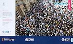 Cover photo of University of Bath Alumni Donor Report shows hundreds of University of Bath graduates milling with friends and family outside Bath Abbey. This photo was taken looking down on the church yard from the Bishop's Balcony above the main entrance to the abbey.