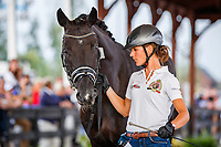 BEL-Fanny Verliefden presents Indoctro V/D Steenblok during the Horse Inspection for Dressage. 2018 FEI World Equestrian Games Tryon. Tuesday 11 September. Copyright Photo: Libby Law Photography
