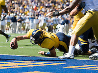 September 4, 2010:  Kevin Riley of California dives for a touchdown during a game against UCLA at Memorial Stadium in Berkeley, California.   California defeated UCLA 35-7