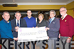 CARE UNIT: Katherine O'Connor of the Keel Pedal the Pensuilla of €1,200 to the Pallative Care Unit at the Anvil Bar, Boolteen, Keel, L-r: Sean Foley, Mr Tom McCormack,Donal Ashe (Keel GAA), katherine O'Connor, Ted Moynihan and Micheál Ó Súilleabháin.