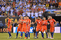 East Rutherford, NJ - Sunday June 26, 2016: Chile  during a Copa America Centenario finals match between Argentina (ARG) and Chile (CHI) at MetLife Stadium.