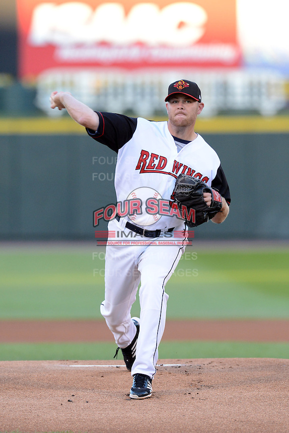 Rochester Red Wings pitcher P.J. Walters (52) during an International League playoff game against the Pawtucket Red Sox on September 5, 2013 at Frontier Field in Rochester, New York.  Pawtucket defeated Rochester 7-2.  (Mike Janes/Four Seam Images)