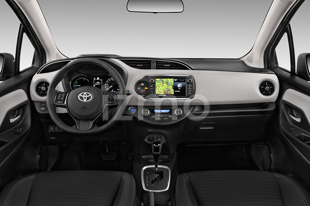 Stock photo of straight dashboard view of 2017 Toyota Yaris Comfort 5 Door Hatchback