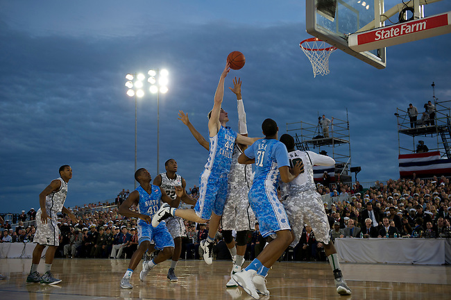 SAN DIEGO, CA - NOVEMBER 11, 2011: (L to R) Keith Appling (11), Branden Dawson (22) of the Michigan State Spartans, Harrison Barnes (40), Tyler Zeller (44) and John Henson (31) of the North Carolina Tar Heels in action during the 2011 Quicken Loans Carrier Classic on the USS Carl Vinson..(Photo by Scott Clarke / ESPN)..- RAW FILE AVAILABLE -.- CMI000165156.jpg -