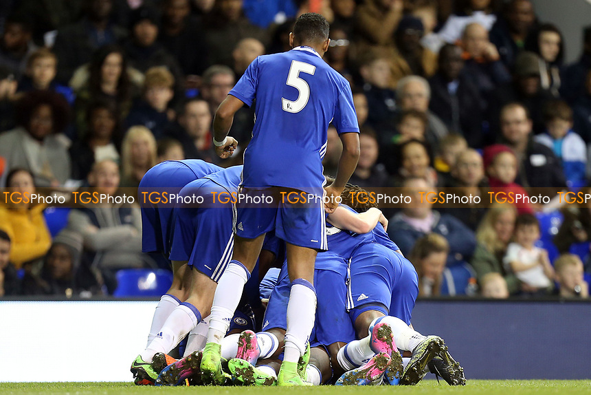 Ike Ugbo of Chelsea is congratulated after scoring the second goal during Tottenham Hotspur Youth vs Chelsea Youth, FA Youth Cup Football at White Hart Lane on 14th March 2017