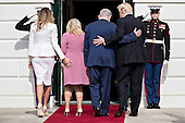 United States President Donald Trump, from right, Benjamin Netanyahu, Israel's prime minister, and their wives Sara Netanyahu and Melania Trump walk into the White House in Washington, D.C., U.S., on Wednesday, Feb. 15, 2017. Netanyahu is trying to recalibrate ties with Israel's top ally after eight years of high-profile clashes with former President Barack Obama, in part over Israel's policies toward the Palestinians. <br /> Credit: Andrew Harrer / Pool via CNP