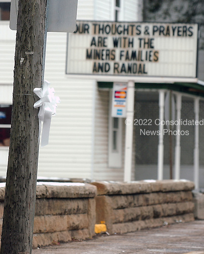 """Buckhannon, WVa - January 7, 2006 -- """"Ribbons of Hope"""" that adorn some telephone poles in Buckhannon, West Virginia on January 7, 2006.  .Credit: Ron Sachs / CNP"""