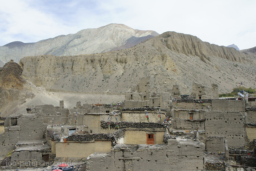 view on traditional part of Kagbeni village area, Upper Mustang, Himalaya, Nepal, October 2011