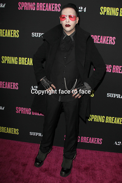 """HOLLYWOOD, CA - MARCH 14: Marilyn Manson at the """"Spring Breakers"""" Los Angeles Premiere at ArcLight Hollywood on March 14, 2013 in Hollywood, California. ..Credit: MediaPunch/face to face..- Germany, Austria, Switzerland, Eastern Europe, Australia, UK, USA, Taiwan, Singapore, China, Malaysia and Thailand rights only -"""