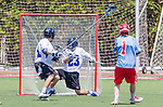 Orange, CA 05/17/14 - Kyrn Stoddard (Grand Valley State #23) and Brooks Armitage (St John University #1) in action during the 2014 MCLA Division II Men's Lacrosse Championship game between Grand Valley State University and St John University at Chapman University in Orange, California.  Grand Valley Defeated St John 12-11.