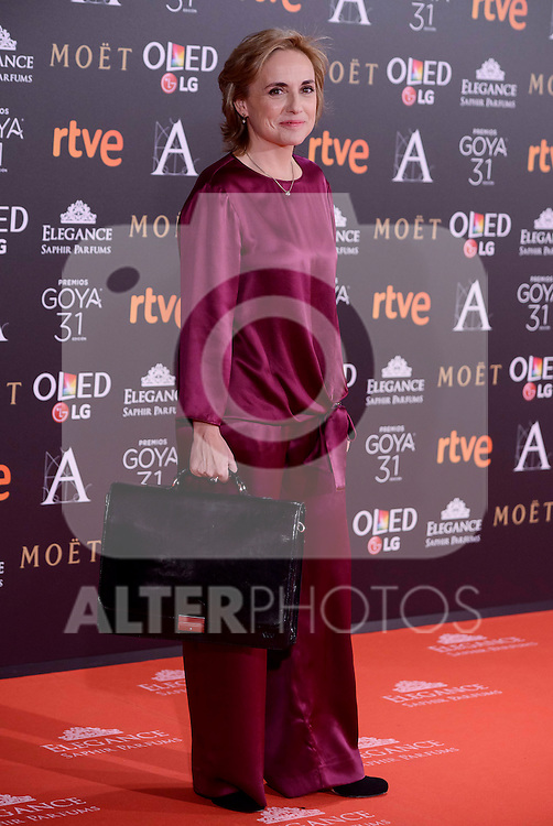 Eva Sanz attends to the Red Carpet of the Goya Awards 2017 at Madrid Marriott Auditorium Hotel in Madrid, Spain. February 04, 2017. (ALTERPHOTOS/BorjaB.Hojas)