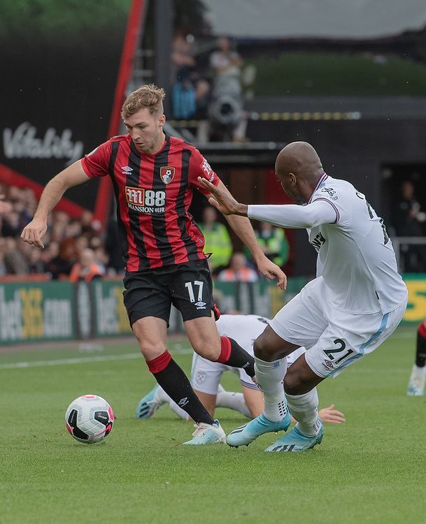 West Ham United's Angelo Ogbonna (right) battles for possession with Bournemouth's Jack Stacey (left) <br /> <br /> Photographer David Horton/CameraSport<br /> <br /> The Premier League - Bournemouth v West Ham United - Saturday 28th September 2019 - Vitality Stadium - Bournemouth<br /> <br /> World Copyright © 2019 CameraSport. All rights reserved. 43 Linden Ave. Countesthorpe. Leicester. England. LE8 5PG - Tel: +44 (0) 116 277 4147 - admin@camerasport.com - www.camerasport.com