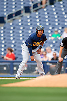 New Orleans Baby Cakes right fielder Moises Sierra (27) leads off first base during a game against the Nashville Sounds on April 30, 2017 at First Tennessee Park in Nashville, Tennessee.  The game was postponed due to inclement weather in the fourth inning.  (Mike Janes/Four Seam Images)