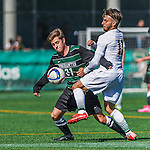 3 October 2015: Binghamton University Bearcat Midfielder Harrison Weilbacher, a Freshman from Lake Ronkonkoma, NY, in action against the University of Vermont Catamounts at Virtue Field in Burlington, Vermont. The Bearcats held on to defeat the Catamounts 2-1 in America East conference play. Mandatory Credit: Ed Wolfstein Photo *** RAW (NEF) Image File Available ***
