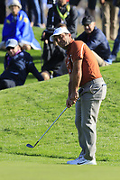 Francesco Molinari (Team Europe) chips onto the 9th green during Saturday's Foursomes Matches at the 2018 Ryder Cup 2018, Le Golf National, Ile-de-France, France. 29/09/2018.<br /> Picture Eoin Clarke / Golffile.ie<br /> <br /> All photo usage must carry mandatory copyright credit (© Golffile | Eoin Clarke)