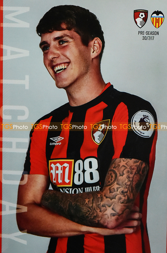 Connor Mahoney of AFC Bournemouthon the front cover of the match day programme during AFC Bournemouth vs Valencia CF, Friendly Match Football at the Vitality Stadium on 30th July 2017