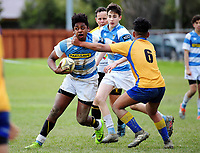 Action from the Hurricanes under-15 rugby tournament match between St Pat's Silverstream (white and sky blue hoops) and Manukura College (gold and blue) at St Patrick's College Silverstream in Upper Hutt, Wellington, New Zealand on Thursday, 7 September 2017. Photo: Dave Lintott / lintottphoto.co.nz