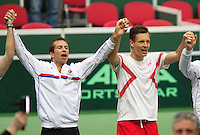 02-02-14,Czech Republic, Ostrava, Cez Arena, Davis Cup Czech Republic vs Netherlands,   Tomas Berdych (CZE) and Radek Stepanek(L) celebrate their win over the Netherlands<br /> Photo: Henk Koster