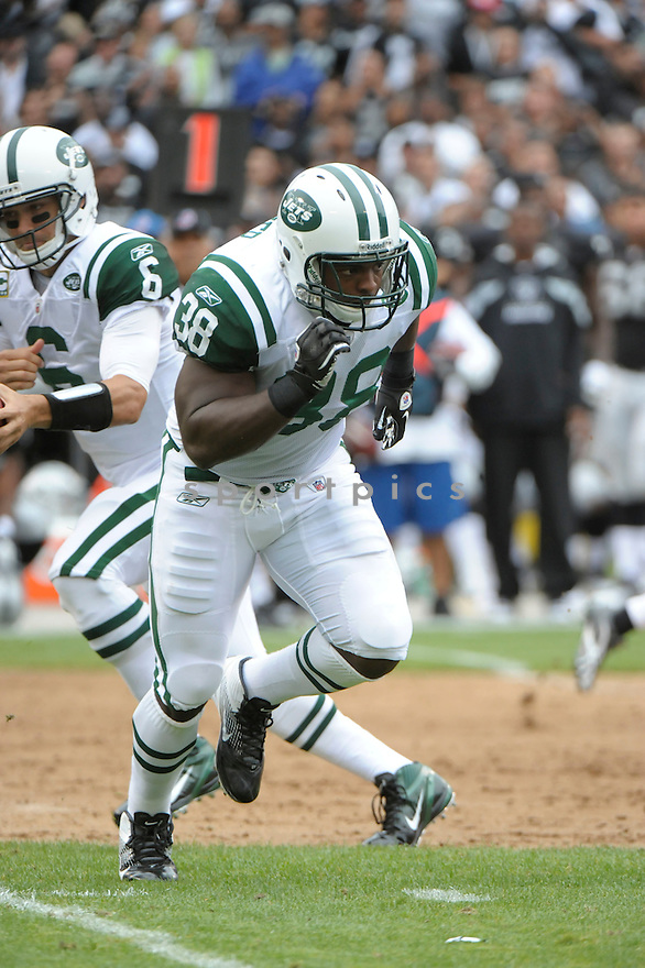 JOHN CONNER, of the New York Jets, in action during the Jets game against the Oakland Raiders on September 25, 2011at O.co Stadium in Oakland, CA. The Raiders beat the Jets 34-24.