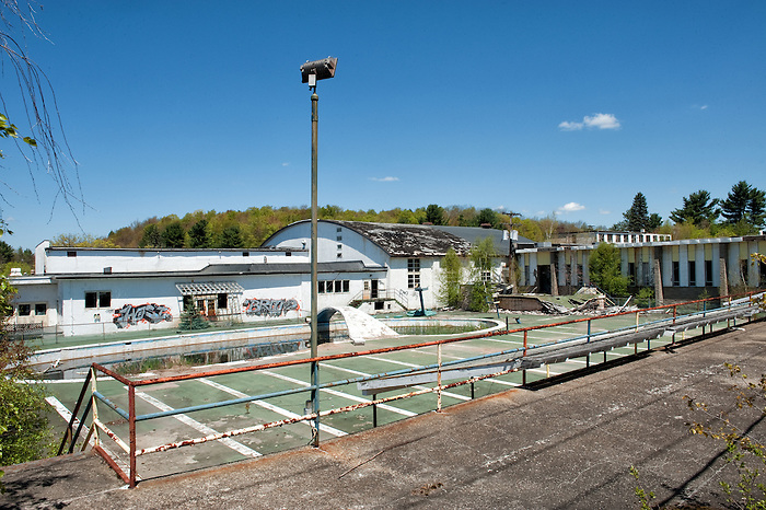 The Outside Pool of the Abandoned Pines Hotel in Fallsburg New York