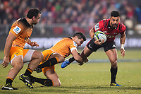 Crusaders' Richie Mo'unga is tackled by Jaguares captain Jeronimo De La Fuente during the 2019 Super Rugby final between the Crusaders and Jaguares at Orangetheory Stadium in Christchurch, New Zealand on Saturday, 6 July 2019. Photo: Joe Johnson / lintottphoto.co.nz