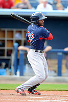 Boston Red Sox second baseman Tony Thomas #98 during a Grapefruit League Spring Training game against the Tampa Bay Rays at Charlotte County Sports Park on February 25, 2013 in Port Charlotte, Florida.  Tampa Bay defeated Boston 6-3.  (Mike Janes/Four Seam Images)