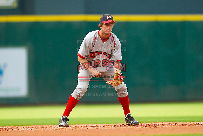Shortstop James Brooks #10 of the Utah Utes on defense against the Texas A&M Aggies at Minute Maid Park on March 4, 2011 in Houston, Texas.  Photo by Brian Westerholt / Four Seam Images