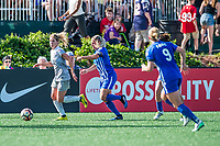 Boston, MA - Saturday June 24, 2017: McCall Zerboni and Adriana Leon during a regular season National Women's Soccer League (NWSL) match between the Boston Breakers and the North Carolina Courage at Jordan Field.