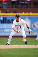 Akron RubberDucks second baseman Todd Hankins (8) during a game against the New Britain Rock Cats on May 21, 2015 at Canal Park in Akron, Ohio.  Akron defeated New Britain 4-2.  (Mike Janes/Four Seam Images)