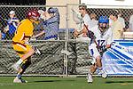 Rancho Santa Margarita, CA 04/30/10 - Ronnie Pisano (Santa Margarita #17) and Kevin Hurt (Torrey Pines #11) in action during the Rancho Santa Margarita CHS-Torrey Pines boys varsity lacrosse game.