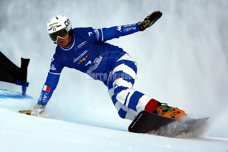 Snowboard World Cup 2018 FIS in Carezza, on December 14, 2017; Parallel Giant Slalom; Christoph Mick (ITA)<br /> &copy; Pierre Teyssot / Pentaphoto