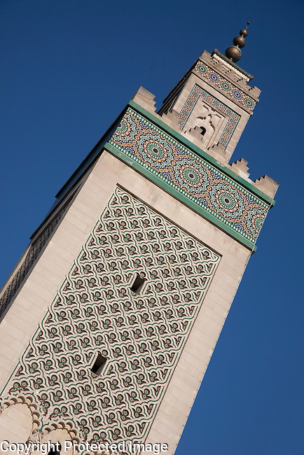 Tower of Central Mosque in Paris, France