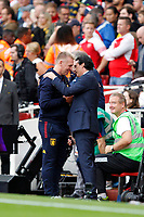 Arsenal manager, Unai Emery and Aston Villa manager, Dean Smith during the Premier League match between Arsenal and Aston Villa at the Emirates Stadium, London, England on 22 September 2019. Photo by Carlton Myrie / PRiME Media Images.
