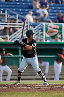 West Virginia Black Bears third baseman Nick Valaika (10) at bat during a game against the Batavia Muckdogs on July 2, 2018 at Dwyer Stadium in Batavia, New York.  West Virginia defeated Batavia 3-1.  (Mike Janes/Four Seam Images)