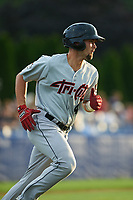 Tri-City ValleyCats designated hitter J.J. Matijevic (4) runs to first base during a game against the Batavia Muckdogs on July 14, 2017 at Dwyer Stadium in Batavia, New York.  Batavia defeated Tri-City 8-4.  (Mike Janes/Four Seam Images)