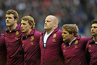 Dan Cole closes his eyes prior to the anthems. RBS Six Nations match between England and Scotland on February 2, 2013 at Twickenham Stadium in London, England. Photo by: Patrick Khachfe / Onside Images
