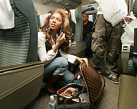 "NAGOYA, JAPAN- APRIL 12: Singer Beyonce Knowles of Destiny's Child on the train from Osaka to Nagoya after the second night of the ""Destiny Fulfilled..And Lovin It"" 2005 world tour in Osaka, April 12, 2005 in Nagoya, Japan.  (Photo by Frank Micelotta/Getty Images)."