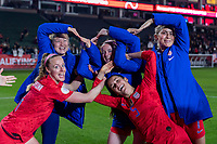 CARSON, CA - FEBRUARY 7: Emily Sonnet #2, Rose Lavelle #16, Abby Dahlkemper #7, Becky Sauerbrunn #4 and Kelley O'Hara #5 of the United States celebrate by making the Olympic Rings during a game between Mexico and USWNT at Dignity Health Sports Park on February 7, 2020 in Carson, California.