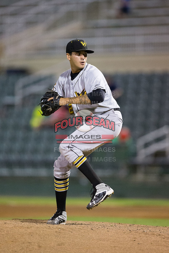 West Virginia Power relief pitcher Julio Eusebio (32) in action against the Kannapolis Intimidators at Kannapolis Intimidators Stadium on August 20, 2016 in Kannapolis, North Carolina.  The Intimidators defeated the Power 4-0.  (Brian Westerholt/Four Seam Images)