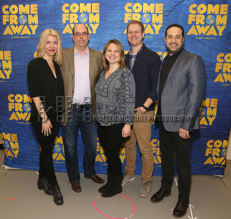Kelly Devine, Christopher Ashley, Irenr Sankoff, David Hein and Ian Eisendrath attends the press day for Broadway's 'Come From Away' at Manhattan Movement and Arts Center on February 7, 2017 in New York City.