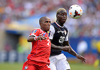 Chicago, IL - Sunday July 28, 2013:   USMNT forward Ediie Johnson (26) battles with Panama's Leonel Parris (2) during the CONCACAF Gold Cup Finals soccer match between the USMNT and Panama, at Soldier Field in Chicago, IL.