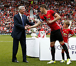 Sir Alex Ferguson is thanked by Michael Carrick during the Michael Carrick Tetimonial match at the Old Trafford Stadium, Manchester. Picture date: June 4th 2017. Picture credit should read: Simon Bellis/Sportimage