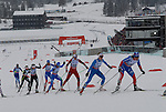 HOLMENKOLLEN, OSLO, NORWAY - March 17: (R-L) Julia Ivanova of Russia (RUS), Tuva Toftdahl Staver of Norway (NOR), Martine Ek Hagen of Norway (NOR), Marina Piller of Italy (ITA), Mariya Guschina of Russia (RUS), Holly Brooks of USA, Jessica Diggins of USA and Riikka Sarasoja-Lilja of Finland (FIN) during the Ladies 30 km mass start race, free technique, at the FIS Cross Country World Cup on March 17, 2013 in Oslo, Norway. (Photo by Dirk Markgraf).