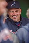 4 April 2014: Atlanta Braves Manager Fredi Gonzalez smiles in the dugout prior to the Washington Nationals Home Opening Game at Nationals Park in Washington, DC. The Braves edged out the Nationals 2-1 in their first meeting of the 2014 MLB season. Mandatory Credit: Ed Wolfstein Photo *** RAW (NEF) Image File Available ***
