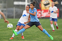 Piscataway, NJ, May 13, 2016. Sky Blue midfielder Raquel Rodriguez (11) tries to block a pass by Boston Breakers forward Kyah Simon (17). Sky Blue FC defeated the Boston Breakers, 1-0, in a National Women's Soccer League (NWSL) match at Yurcak Field.