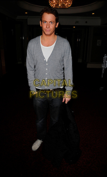 JOE SWASH.At the Mad Hatters Tea Party, Grosvenor House Hotel, Park Lane, London, England, January 20th 2008..full length grey cardigan.CAP/CAN.©Can Nguyen/Capital Pictures